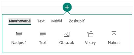Snímka obrazovky smožnosťou Vložiť obsah.