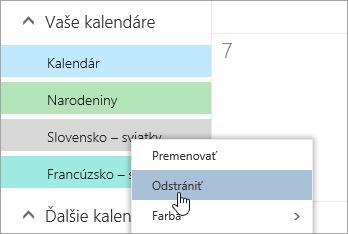 Snímka obrazovky s možnosťou Odstrániť kalendár