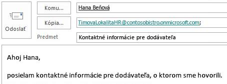 E-mailová správa spoštovou schránkou lokality začlenenou do poľa Kópia.