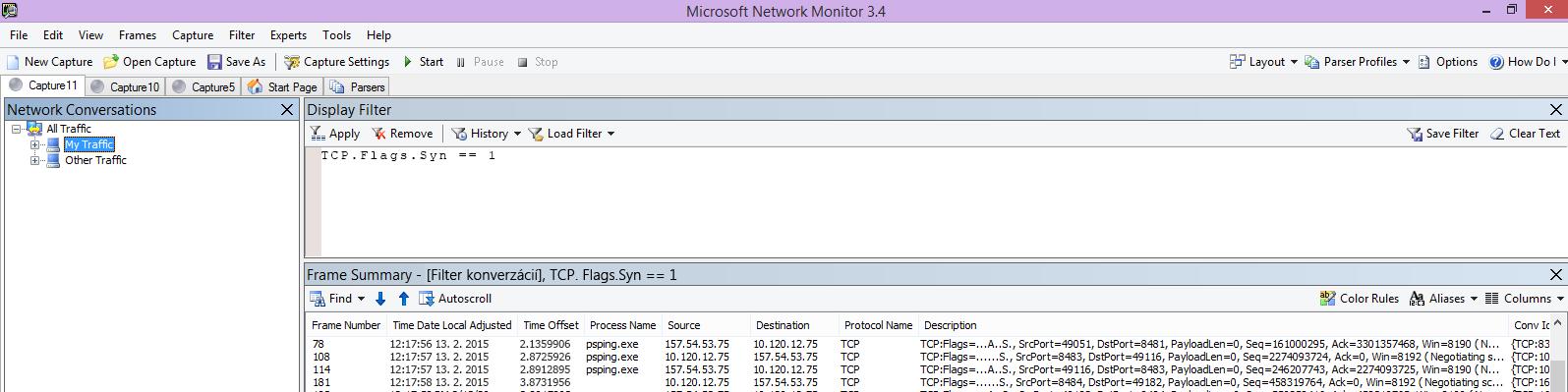 Sledovanie Netmon z klienta so zobrazením rovnakého príkazu PSPing pomocou filtra TCP.Flags.Syn == 1.