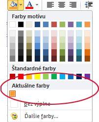 možnosť naposledy použité farby