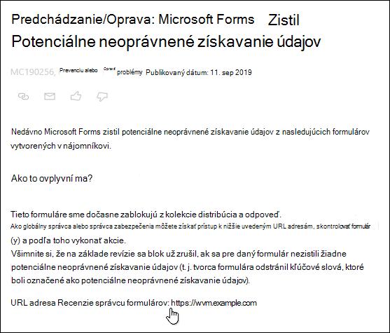 Ukázanie na hypertextové prepojenie na URL správu formulárov revízia v centre spravovania služieb Microsoft 365 v službe Microsoft Forms and phishing Detection