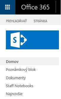 Vyhľadanie prepojenia so SharePointom.