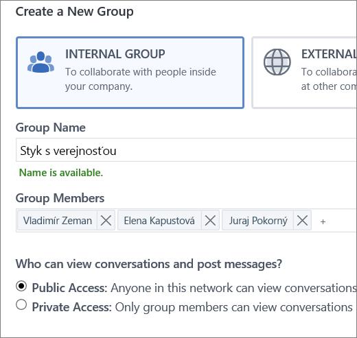 Vytvorenie skupiny