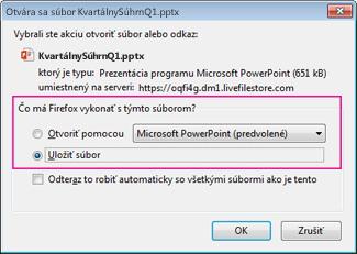 Čo má Firefox vykonať s týmto súborom?