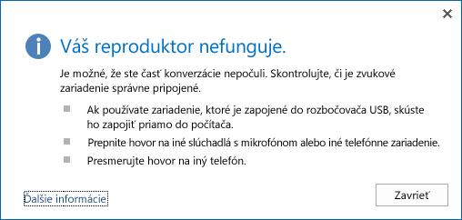 Snímka obrazovky v prípade chyby zvuku a možnosti, ktoré treba preveriť