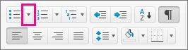 Odrážky vyberiete alebo pridáte kliknutím na šípku vedľa ikony odrážok.