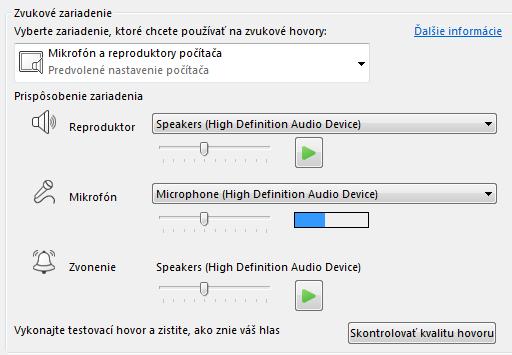 Snímka obrazovky s poľom výberu Zvukové zariadenie, kde môžete nastaviť kvalitu zvuku