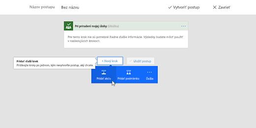 Snímka obrazovky zobrazujúca vybratú možnosť Pridať akciu
