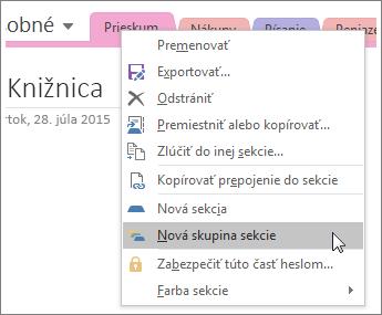 Snímka obrazovky spostupom vytvorenia novej skupiny sekcií vo OneNote 2016.