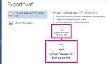 Tlačidlo Vytvoriť dokument PDF alebo XPS na karte Exportovať vo Worde 2016.