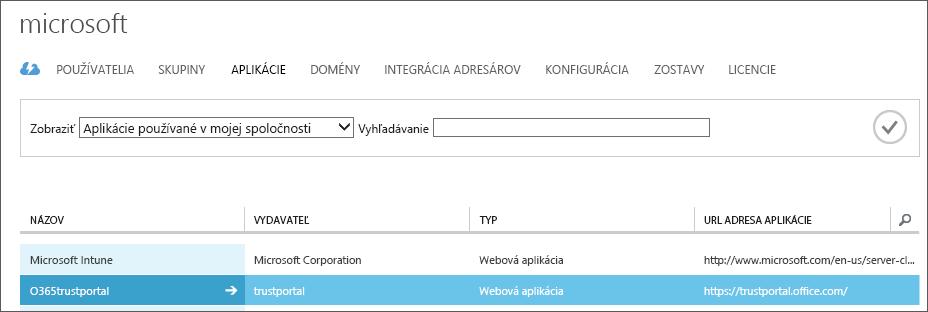 Zobrazuje zoznam aplikácií Azure AD so zvýraznenou službou dôveryhodnosti (O365trustportal).