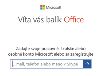 Zadajte svoj e-mail v konte Microsoft alebo konto Office 365