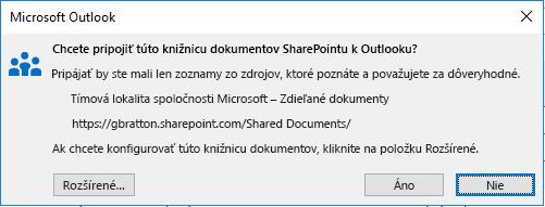 Pripojenie ku knižnici dokumentov SharePointu