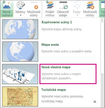 Tlačidlo Nová vlastná Mapa v galérii novej scény