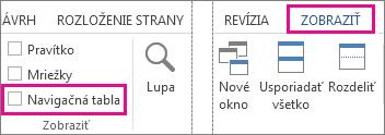 Obrázok zobrazujúci začiarkavacie políčko položky Navigačná tabla v rámci karty Zobraziť