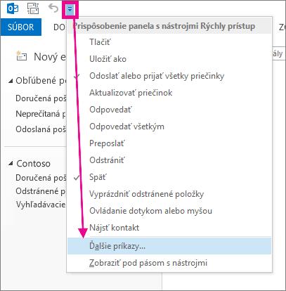 Pridanie príkazu na panel s nástrojmi Rýchly prístup