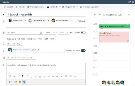 Plánovanie schôdze v Outlooku na webe
