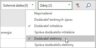 Snímka obrazovky s rozbaľovacím poľom Filter zdrojov na paneli s úlohami s dvoma vybratými zdrojmi