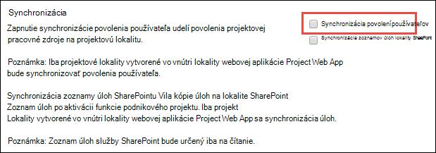 Synchronizácia povolení používateľov