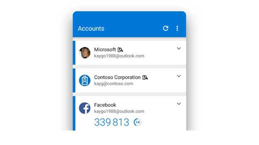 Aplikácia Microsoft Authenticator zobrazujúca viacero kont.