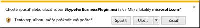Výberom položky Spustiť vdolnej časti okna prehliadača nainštalujte Doplnok pre Skype for Business Web App