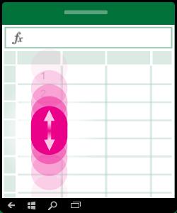Obrázok znázorňujúci gesto potiahnutia nahor alebo nadol