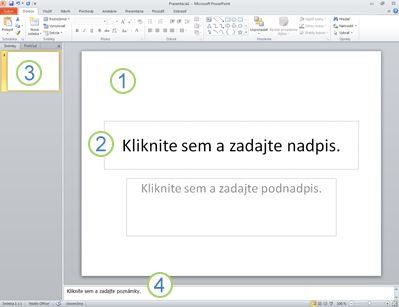 Pracovné prostredie alebo normálne zobrazenie programu PowerPoint 2010 so štyrmi oblasťami s menovkami.