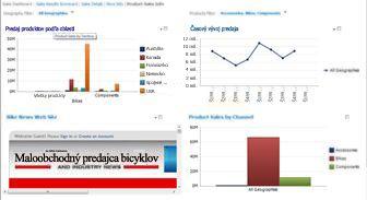 Tabuľa služby PerformancePoint sdvoma použitými filtrami