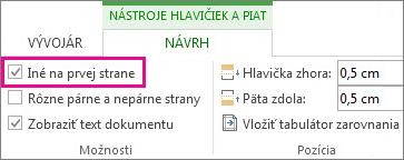 Obrázok s políčkom Iné na prvej strane v skupine Možnosti na karte Nástroje hlavičiek a piat.