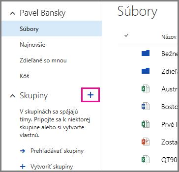 Snímka obrazovky s postupom vytvorenia skupiny vo OneDrive for Business kliknutím na znamienko plus