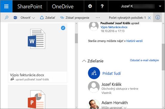 Snímka obrazovky stablou s podrobnosťami vo OneDrive for Business v SharePoint Serveri 2016 s balíkom funkcií Feature Pack 1