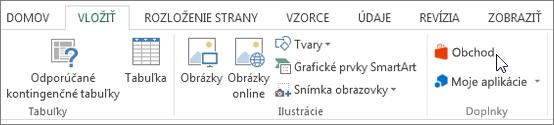 Snímka obrazovky s časťou karta Vložiť na páse s nástrojmi programu Excel s kurzorom ukazujúcim na sklade. Vyberte položku Obchod a prejdite do Office obchodu a vyhľadajte doplnky programu Excel.