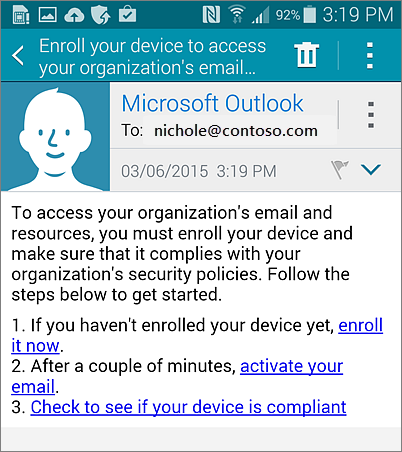 E-mailová správa oregistrácii v Androide