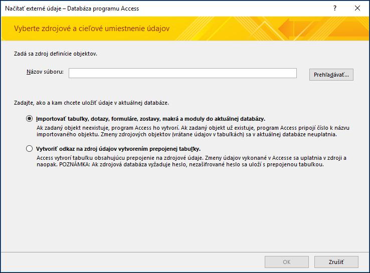 Snímka obrazovky sprievodcu importovaním Získať externé údaje – databáza programu Access.