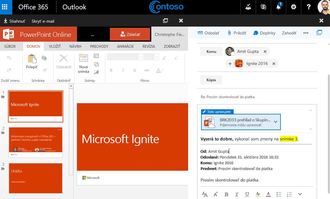 Snímka obrazovky s prílohami e-mailu