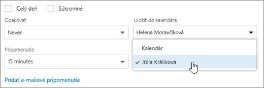 Snímka obrazovky s ponukou Uložiť do kalendára.