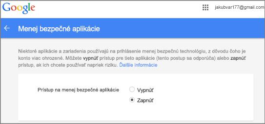 Ak chcete povoliť prístup Outlooku, musíte prejsť do služby Google Gmail