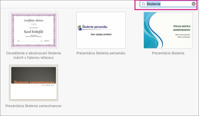 Vyhľadávanie šablón v Office pre Mac
