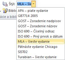 In the Citations & Bibliography group, click the arrow next to Style