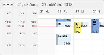 Kalendár zobrazujúci tri časové pásma