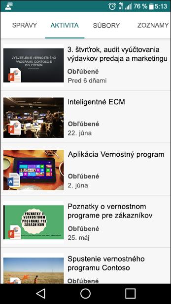 Mobilné zobrazenie tímovej lokality SharePoint