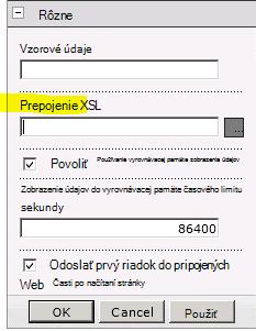 Vlastnosť prepojenia XSL v ponuke Webová časť