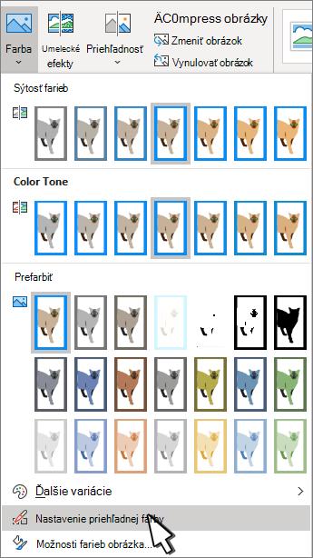 Ponuka farba s vybratou položkou nastaviť priehľadnosť.