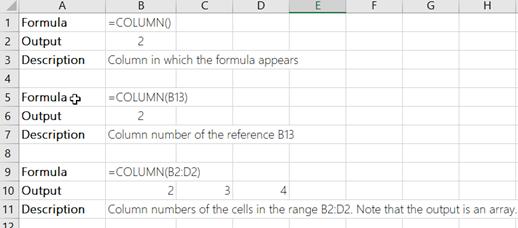 Príklady funkcie COLUMN