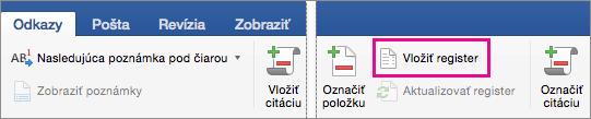 Karta Referencie so zvýraznenou položkou Vložiť register