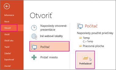 Načítanie a použitie powerpointovej šablóny