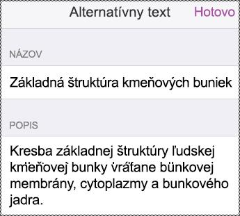Dialógové okno alternatívneho textu v iPhone.