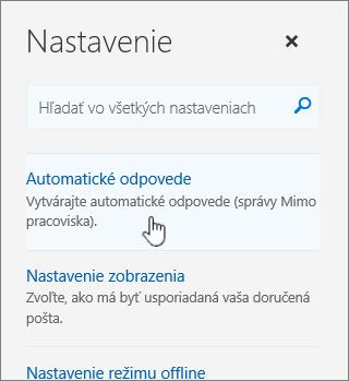 Snímka obrazovky s obrazovkou Pomocníka s vybratou položkou Automatická odpoveď.
