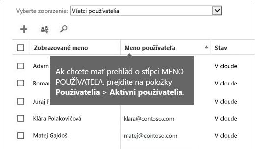Stĺpec Meno používateľa vCentre spravovania služieb Office 365